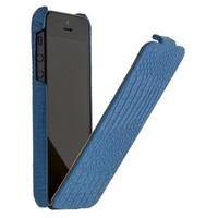 Кожаный чехол книга Borofone Crocodile flip Blue для Apple iPhone 5/5S/5SE