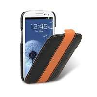 Кожаный чехол Melkco Leather Case Black/Orange LC для Samsung i9300 Galaxy S3