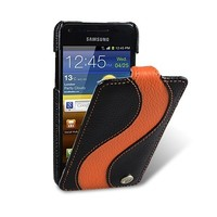 Кожаный чехол книга Melkco Leather Case Black/Orange LC для Samsung i9070 Galaxy S Advance