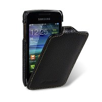 Кожаный чехол книга Melkco Leather Case Black LC для Samsung S5380 Wave Y