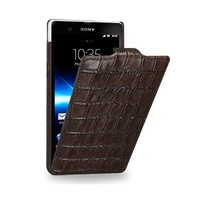 Кожаный чехол TETDED Wild Series Brown Crocodile для Sony Xperia Z L36h