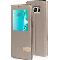 Полиуретановый чехол Usams Muge Series Gold для Samsung G925F Galaxy S6 Edge