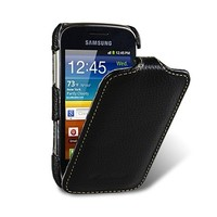 Кожаный чехол книга Melkco Leather Case Black LC для Samsung S6500 Galaxy Mini 2