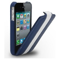 Кожаный чехол Melkco Leather Case Blue/White LC для Apple iPhone 4/4S