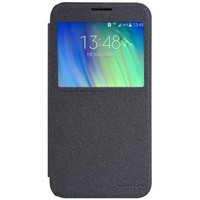 Полиуретановый чехол Nillkin Sparkle Leather Case Black для Samsung Galaxy E7