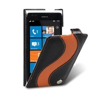 Кожаный чехол Melkco Leather Case Black/Orange LC для Nokia Lumia 900