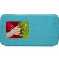 Полиуретановый чехол Nillkin Sparkle Leather Case Blue для LG Optimus G2 Mini D618