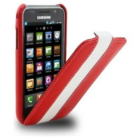 Кожаный чехол книга Melkco Leather Case RED/White LC для Samsung i9000 Galaxy S