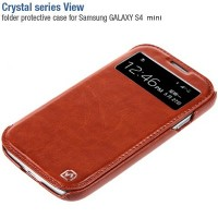 Кожаный чехол-книга HOCO Crystal leather Case Brown для Samsung i9190 Galaxy S4 mini