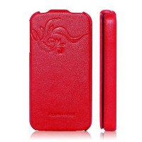 Кожаный чехол книга HOCO Leather Case Earl Fashion Red для Apple iPhone 4/4S
